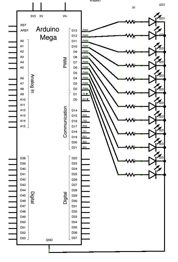 Подключение 12 светодиодов к